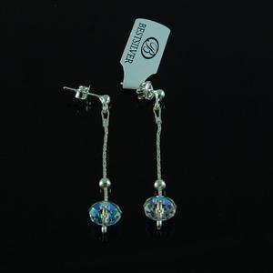 Kolczyki Srebrne z kulką Swarovski Crystal AB - 2630281269