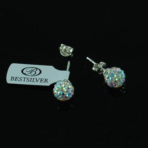 Kolczyki Discoball Swarovski kulki 8mm Crystal AB na sztyfty - 2630281183