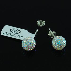 Kolczyki Discoball Swarovski kulki 10mm Crystal AB na sztyfty - 2864052675