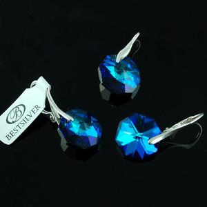Komplet Swarovski - kolczyki srebrne + wisiorek OCTAGON Bermuda Blue - 2875312353