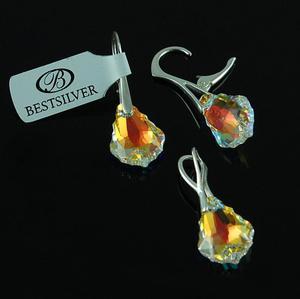 Komplet Swarovski - kolczyki srebrne + zawieszka Baroque Crystal AB - 2630281297