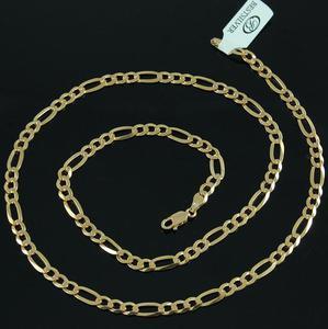 Łańcuszek Srebrny złocony 55cm figaro 4,5mm Srebro złocone - 2630281894