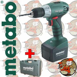 BS12 w walizce PVC Wiertarko-Wkr�tarka z LED Metabo 12V 2x1,7Ah Ni-Cd 10mm 602172510