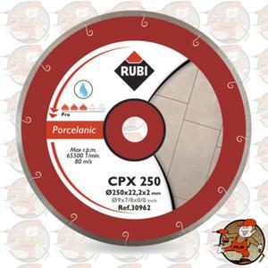 CPX250PRO Ref.30962 Tarcza diamentowa do gresu porcelanowego, spiralne nacięcia Rubi CPX 250 PRO