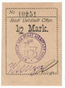 1/2 mark, banknot zastępczy,Miłakowo - 2848445694