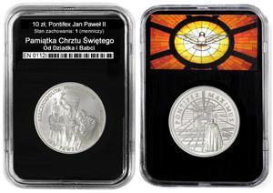 10 zł, Pontifex Jan Paweł II, PamiÄ tka Chrztu Św. + dedykacja - 2848445790