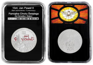 10 zł, Wybory 1989 Jan Paweł II, PamiÄ tka Chrztu Św. dedykacja - 2848445793
