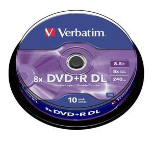 Płyty Verbatim DVD+R DL 8.5GB 8x - Spindle -10szt. - Matt Silver - 2823369843