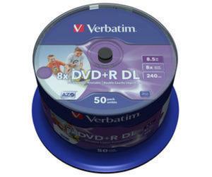 Płyty Verbatim DVD+R 8,5GB DL 8x - Cake Box - 50szt. - Do nadruku - 2823369845