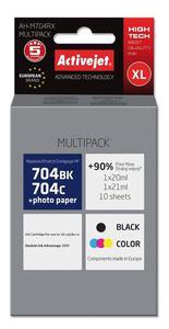 Zestaw tuszy AH-M704RX Czarny + Kolor do drukarek HP (Zamiennik HP 704 / CN692AE / CN693AE) - 2 szt. - 2823359148