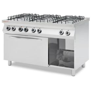Kuchnia gazowa 6-palnikowa z konwekcyjnym piekarnikiem gazowym GN 1/1 - kod 226469 - 2845927363
