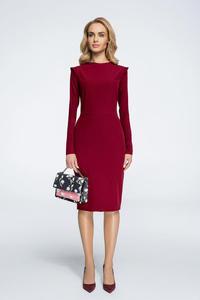 5749d3bbd5 CM3058 Sukienka mini ze stójką i długim rękawem - bordowa - 2855837885