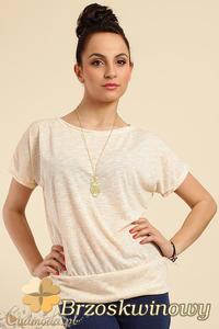 CM0228 Gładka bluzka tunika + wisior sowa - brzoskwiniowa - 2832070274