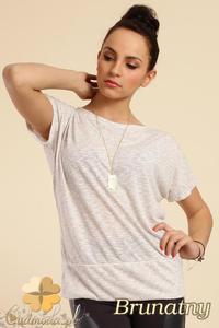 CM0228 Gładka bluzka tunika + wisior sowa - brunatna - 2832070275