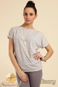 CM0228 Gładka bluzka tunika + wisior sowa - szara - 2832070276