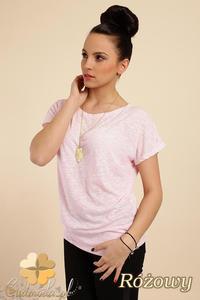 CM0228 Gładka bluzka tunika + wisior sowa - różowa - 2832070297