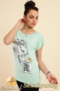 CM0229 Bluzka tunika t-shirt kimono nadruk -seledynowy - 2832070315