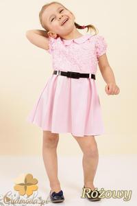 299a16808b MA011 Dziecięca sukienka satynowa z kołnierzykiem - różowa - 2832070319