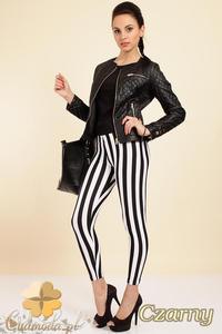 CM0246 Modne legginsy getry w pionowe paski - czarne - 2832070361