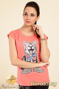 CM0244 Modny t-shirt bluzka z kolorowym nadrukiem - koralowy - 2832070371