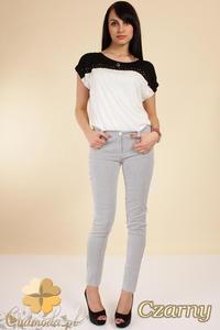 CM0258 Klasyczne elastyczne spodnie rurki w paski - czarne - 2832070418