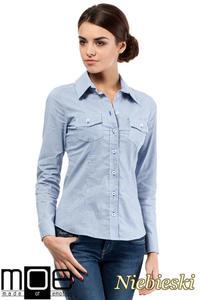 10feb432af62e1 CM0265 Elegancka klasyczna taliowana koszula - niebieska, MOE. Taliowana koszula  damska z długim rękawem.