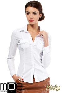 e0258f05676376 CM0270 Klasyczna taliowana gładka koszula - biała, MOE. Taliowana koszula  damska z długim rękawem .