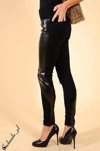 CM0028 Włoskie getry leginsy spodnie skóra II - czarne - 2832069408