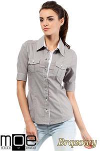 8e8a260bed4986 CM0284 Klasyczna taliowana koszula mankiety - brązowa, MOE. Taliowana koszula  damska z krótkim rękawem .