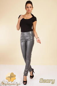 CM0029 Skórzane spodnie legginsy z kieszeniami - szare