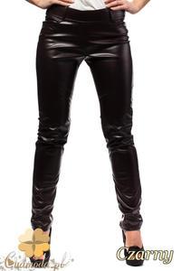 CM0029 Skórzane spodnie legginsy z kieszeniami - czarne