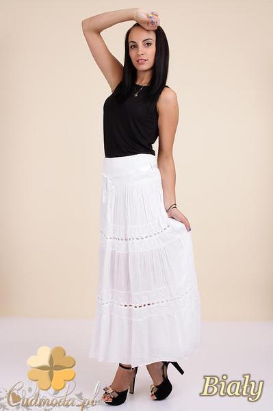 Oryginał CM0295 Zwiewna długa spódnica maxi koronka - biała • www.cudmoda.pl UL22