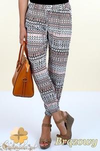 CM0299 Spodnie alladynki pumpy kolorowy wzór etno - brązowe - 2832070659