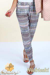 CM0299 Spodnie alladynki pumpy kolorowy wzór etno - niebieskie - 2832070661