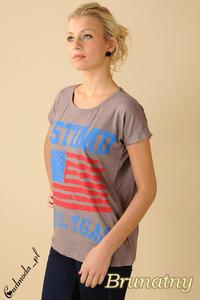 CM0100 Koszulka bluzka nietoperz flaga USA - brunatna - 2832070714