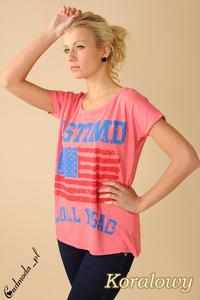 CM0100 Koszulka bluzka nietoperz flaga USA - koralowa - 2832070715