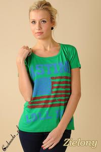 CM0100 Koszulka bluzka nietoperz flaga USA - zielona - 2832070718
