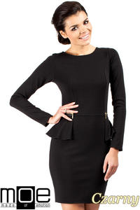CM0330 Sukienka ołówkowa z baskinką i zameczkami - czarna - 2832070825