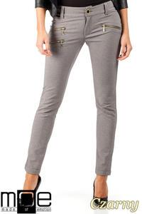 CM0336 Eleganckie spodnie rurki złote zamki - czarne - 2832070842