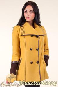 CM0360 Krótki dwurzędowy płaszczyk damski z flauszu - musztardowy OUTLET