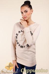 CM0362 Bluza damska z nadrukiem i złotymi ćwiekami - cappuccino - 2832071035