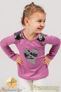 MA047 Dziewczęca bluzka z sercem - wrzosowa - 2832071142