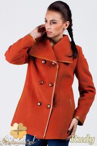 CM0379 Dwurzędowy płaszczyk damski z flauszu - rudy