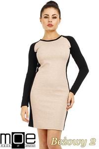 CM0327 Klasyczna dwukolorowa sukienka mini - beżowa 2 - 2832071230