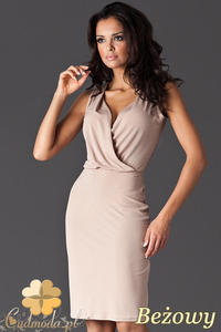 275d98c536 CM0404 FIGL M135 Sukienka mini z marszczonym dekoltem - beżowa - 2832071238