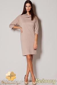 CM0415 FIGL M221 Dzianinowa sukienka golf - beżowa - 2832071287