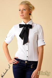 CM0048 Taliowana koszula damska z krótkim rękawem i krawatką - biała - 2832069486