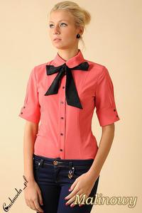 CM0048 Taliowana koszula damska z krótkim rękawem i krawatką - malinowa - 2832069487