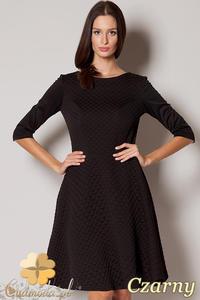 b5656cb89a CM0426 FIGL M235 Rozkloszowana pikowana sukienka - czarna - 2832071321