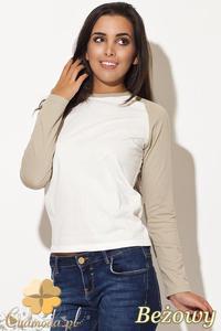 CM0461 KATRUS K108 Dwukolorowa bluzka damska w sportowym stylu - beżowa - 2832071438